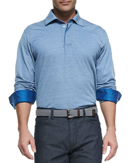 Ermenegildo Zegna Long-Sleeve Melange-Knit Polo, Blue