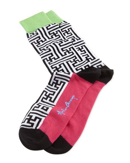 Maze-Print Men's Socks, Black/White