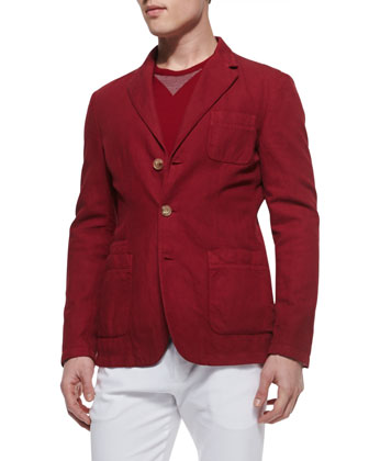 Soft 3-Button Jacket, Cherry