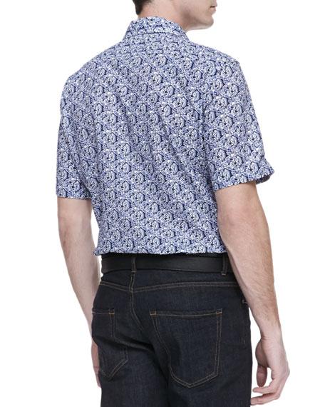 Floral-Print Short-Sleeve Button-Down Shirt, Navy