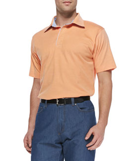 Ermenegildo Zegna Short-Sleeve Pique Polo, Orange