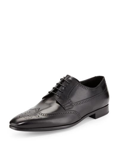 Giorgio Armani Leather Wing-Tip Lace-Up, Black