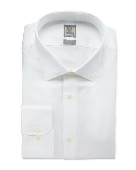 Ike Behar Diagonal Twill Dress Shirt, White