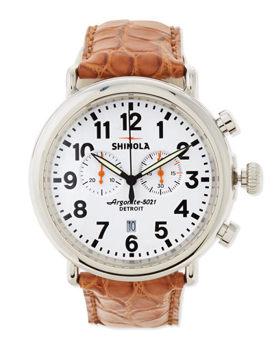 Shinola 47mm Runwell Chronograph Men's Watch, White/Tan