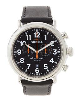 Shinola 47mm Runwell Chronograph Men's Watch, Black/Black