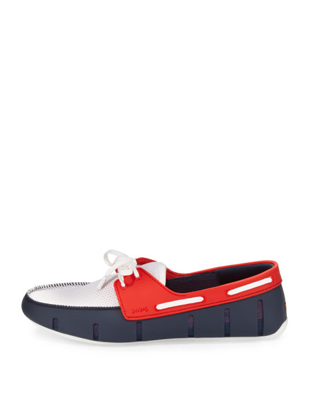 Tricolor Rubber/Mesh Slip-On, Navy/Red/White