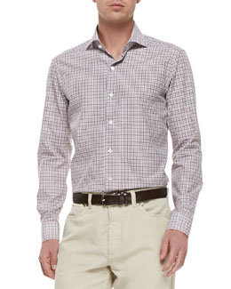 Ermenegildo Zegna Woven Tattersall-Check Shirt, Red