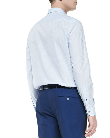 Textured Striped Dress Shirt, Light Blue