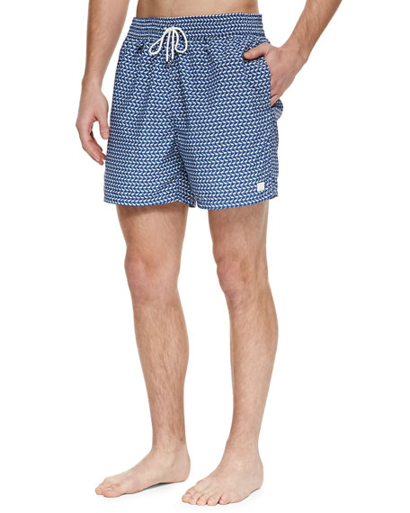Whale-Print Swim Trunks, Navy/Gray
