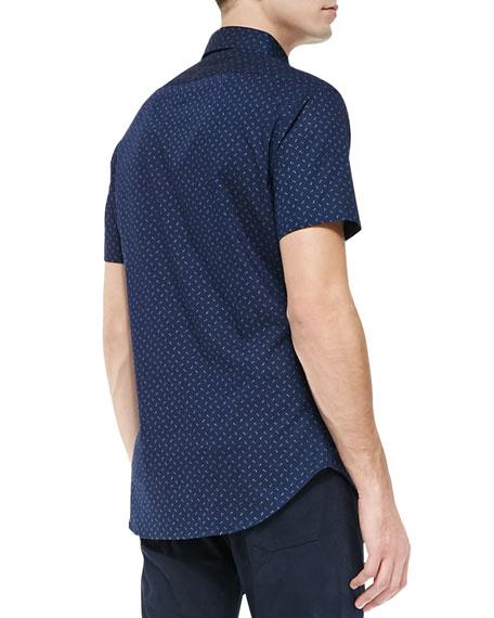 Dot-Print Short-Sleeve Sport Shirt, Navy