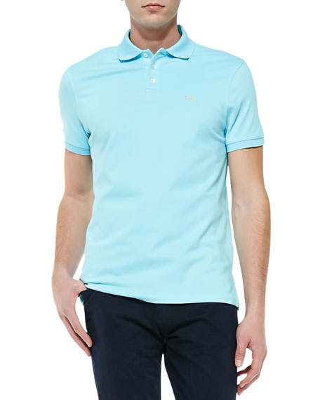 Short-Sleeve Polo Shirt with RL Logo, Pale Aqua