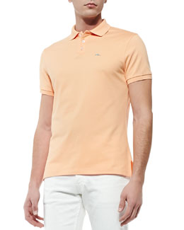 Ralph Lauren Black Label Short-Sleeve Polo Shirt with Blue RL Logo, Peach