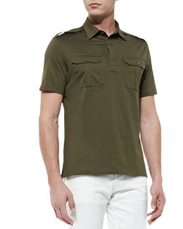 Ralph Lauren Black Label Military Knit Polo, Thicket Moss