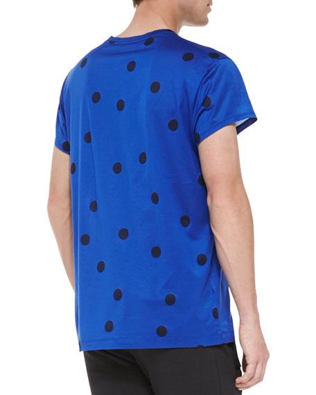 Short-Sleeve Polka Dot T-Shirt, Blue/Black