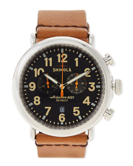 Shinola 47mm Runwell Chronograph Men's Watch, Black/Tan