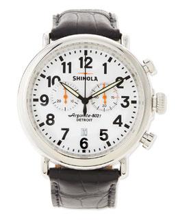 Shinola 47mm Runwell Chronograph Men's Watch, Black/White
