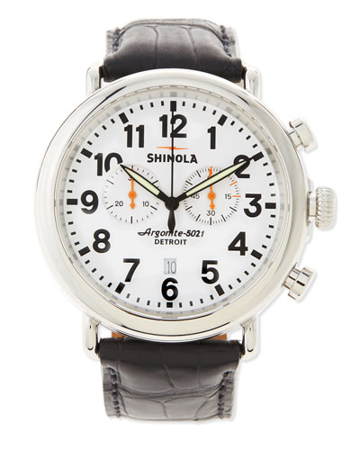 Shinola 47mm Runwell Chronograph Men's Watch, Black/White