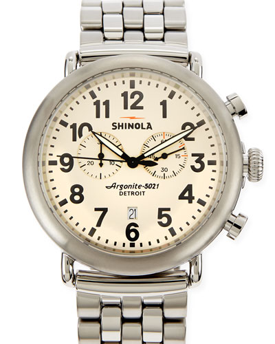 Shinola 47mm Runwell Men's Chronograph Watch, Stainless Steel/Ivory Dial