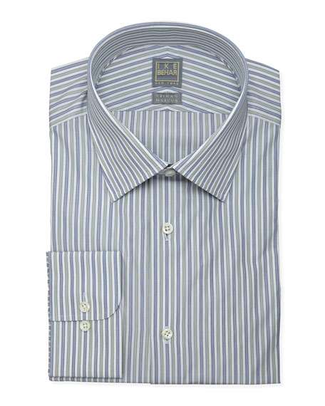 Striped Dress Shirt, Blue/Green