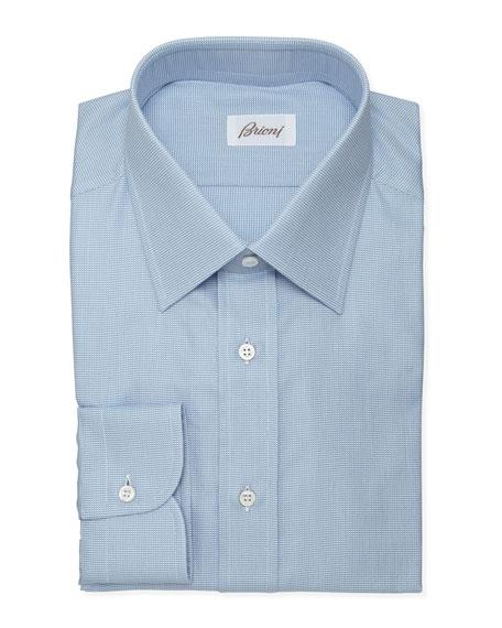 Tick-weave Dress Shirt, Blue