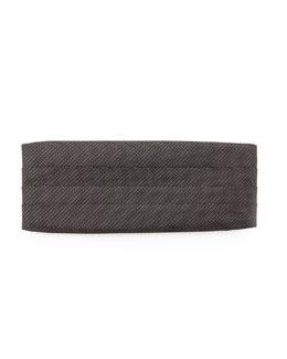 Neiman Marcus Textured Check-Neat Cummerbund, Black/White