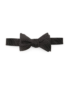 Neiman Marcus Textured Check-Neat Bow Tie