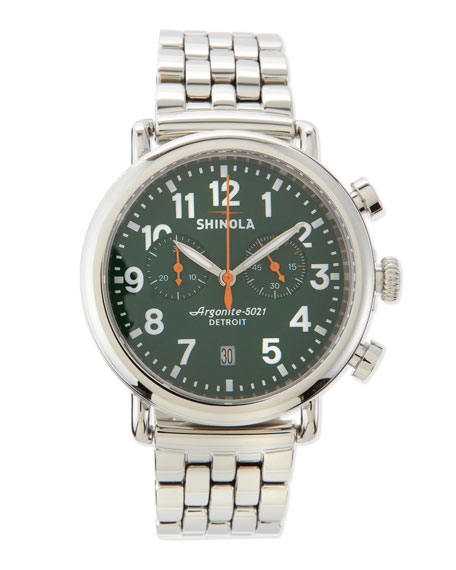 41mm Runwell Men's Chronograph Watch, Stainless Steel/Green Dial