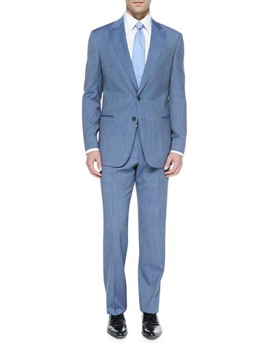 Armani Collezioni G-Line Herringbone Suit, Blue/Off-White