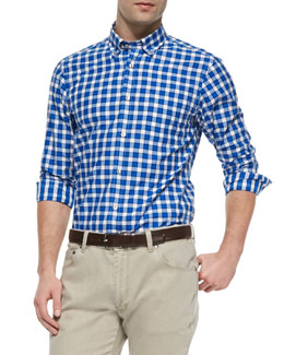 Ermenegildo Zegna Woven Check Button-Down Shirt, Blue
