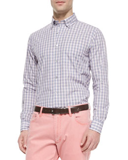 Ermenegildo Zegna Plaid Button-Down Shirt, Blue