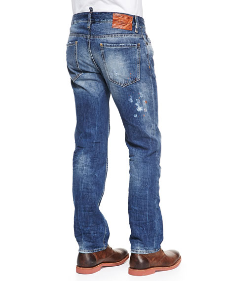 Dean Orange-Paint-Splatter Jeans, Blue