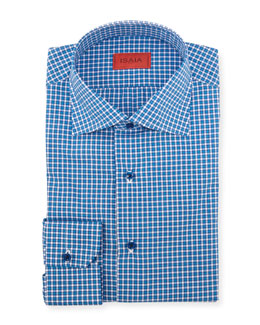 Isaia Woven Check Dress Shirt, Bright Blue