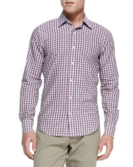 Vince Gingham-Check Button-Down Shirt, Lavender