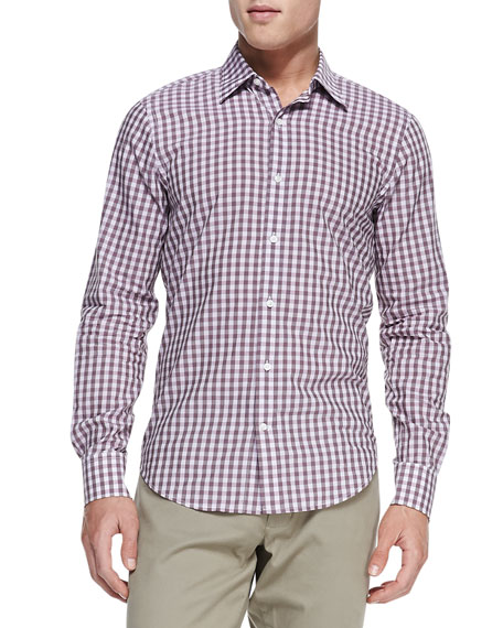 Gingham-Check Button-Down Shirt, Lavender