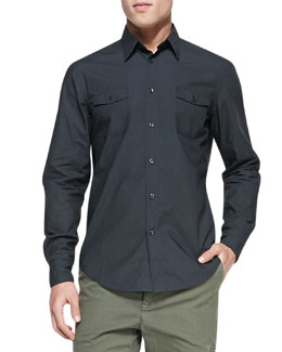Vince Patch-Pocket Woven Shirt, Charcoal