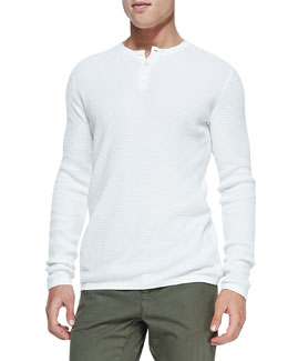 Vince Thermal Long-Sleeve Henley, White