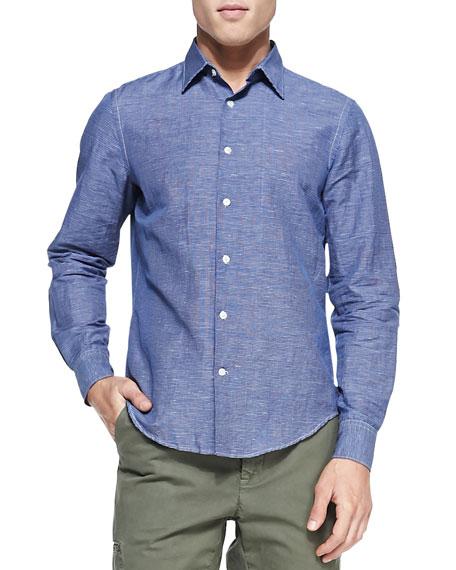 Linen-Blend Woven Shirt, Indigo