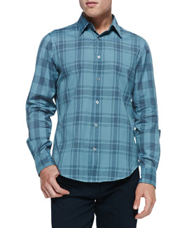 Vince Woven Plaid Button-Down Shirt, Green