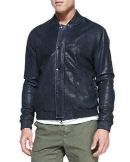 Vince Leather Bomber Jacket, Dark Navy