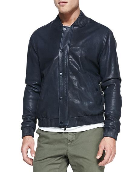 Leather Bomber Jacket, Dark Navy