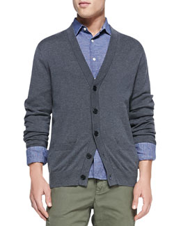 Vince Cashmere-Blend Cardigan Sweater, Charcoal
