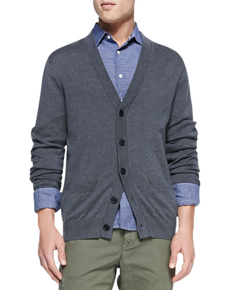 Cashmere-Blend Cardigan Sweater, Charcoal