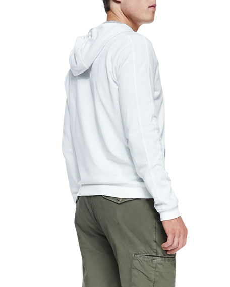 Jersey-Lined Knit Hoodie, White