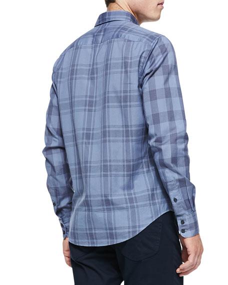 Woven Plaid Button-Down Shirt, Blue