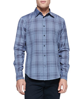 Vince Woven Plaid Button-Down Shirt, Blue