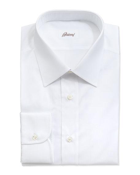 Tonal Shadow-Striped Dress Shirt, White