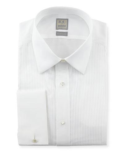Ike Behar Pleated Tuxedo Shirt, White