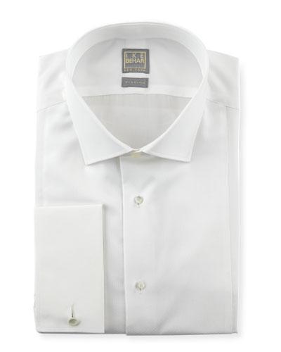 Ike Behar Textured Bib Tuxedo Shirt, White
