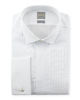 Ike Behar Pleated Fly-Front Tuxedo Shirt, White