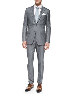 Ermenegildo Zegna Trofeo 600 Stripe Suit, Light Gray/Pink